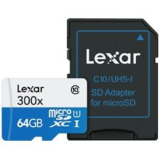 Lexar 64GB High Performance Micro SDXC TF UHS-I Memory Card 300x - 45MB/s