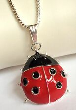 """Silver Ladybug Necklace Plated Pendant Insect Lady Bug Long 21-23 """" USA Seller"""