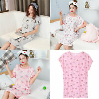 Women Girls Sleep Dress O-Neck Nightgown Cartoon Flamingo Cotton Pajamas