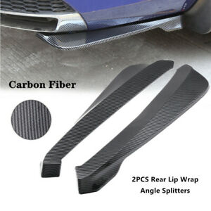 2X Carbon Fiber ABS Car Bumper Spoiler Rear Lip  Wrap Angle Shovel General Kit