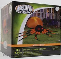Halloween Gemmy 8 ft Whirl A Motion Black/Orange Spider Airblown Inflatable