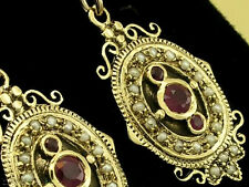 Victorian insp Genuine 9ct Yellow Gold NATURAL Ruby & Pearl EARRINGS