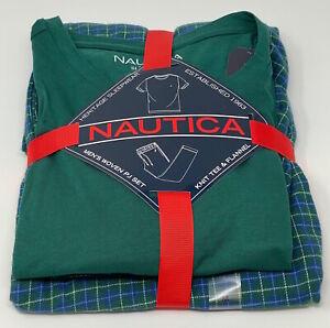NEW NAUTICA Men Short Sleeve Knit Tee & Flannel Pant Woven PJ Pajama Set XL