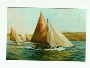CORNISH POSTCARD COLOUR PHOTO FALMOUTH OYSTER BOATS ART CARD BY GEOFFERY HUSBAND