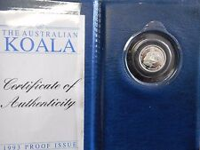Koala 1993 1/10th oz Platinum Proof Perth Mint Australian Coin Mintage only 500