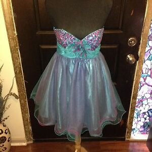 Cache Multicolor Strapless Sequined Formal Dress - Size 6