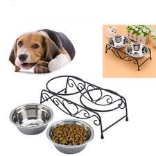 Doble Comedero Tazón De Alimento/Agua Acero Inoxidable Con Soporte Para Perros