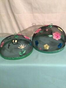 """Wire Mesh Screen Food Plate Tent Cover Embroidered  Flowers Bees"""" -13"""" Lot Of 2"""