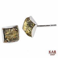 GREEN BALTIC AMBER GEMSTONE & STERLING SILVER 925 STUD EARRINGS 4 mm.KAB-6 A