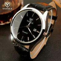 Men Trendy Night Light Minimalist Thin Watch Slim Leather Strap Stainless Steel