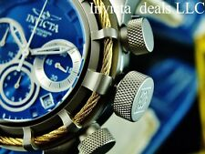 NEW Invicta Mens 50mm Bolt Sport Swiss Chronograph Blue Dial Gold Cable SS Watch