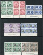 TURKS & CAICOS ISLANDS-1948 Coronation Set in fine Mint Marginal Imprint Blocks