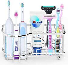 1 Pack Simple Houseware Multi-Functional 6 Slots Toothbrush Holder, Chrome