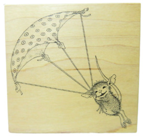 House Mouse Stampa Rosa Up Up and Away #244 Parachute 1998 Rubber Stamp