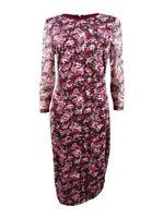 Kensie Women's Plus Size Floral Printed Lace Sheath Dress