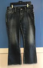 Womens Denim Jeans, Size 14 x 30, Suki Silver, SUKI SURPLUS, Curvy Relaxed, Boot