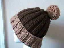 Hand knitted warm &  bulky beanie/hat with pompom, brown with beige