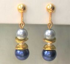 """CLIP ON Earrings Blue and Silver Gray Glass Pearl Gold Tone 1.8"""" Long FREE SHIP"""