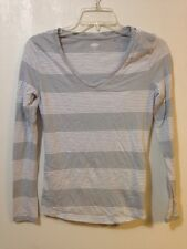 Old Navy Womens Small T-Shirt Long Sleeve Gray White Striped