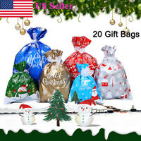 20Pcs Christmas Gift Bags with Ribbons Assorted Styles Xmas Candy Bag Gift Wraps