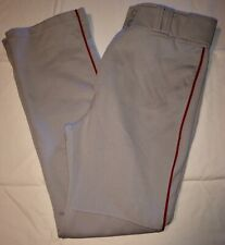 Euc Mizuno Performance Apparel Baseball Pants Gray/Red Strip W/Pockets Mens L