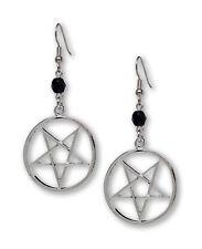 Inverted Pentacle Pentagram Satanic Silver Finish Dangle Earrings #824BD
