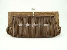 Adini Beautiful hAND Beaded Evening Bag with Magnetic Closure in Copper//Brown