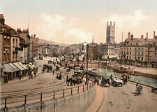 "PS42 Vintage 1890's Photochrom Photo St. Augustine's Bridge Bristol Print 17""x12"