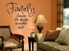 FAMILY FOREVER FOR ALWAYS Words Vinyl Wall Decal Lettering Sticky Quote 24""