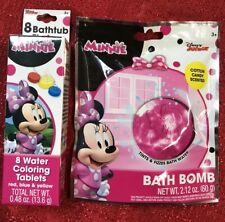Set Of 2 Disney Minnie Mouse Both Bomb & Bathtub Fizzies Kids Bath Bomb Set