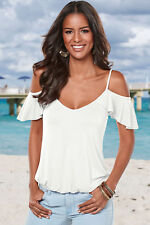 Ladies WHITE Top Criss Cross Detail Tshirt cold shoulder Sleeveless blouse10