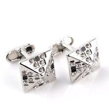 Silver and black diamond cufflinks UK Seller Brand New