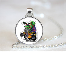 Green Monster On Yellow Hot PENDANT NECKLACE Chain Glass Tibet Silver Jewellery