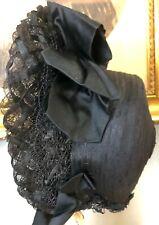 Antique Victorian 1880's Black Straw Mourning Bonnet Hat