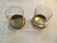 Pair of West Elm Brass / Bronze toned Candle Holders Metal and Glass