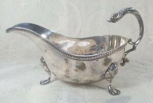 Vintage Art Nouveau Silver Plate Swan Handled Gravy Boat Sauce Bowl Claw Feet
