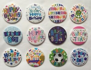 Happy Birthday Boys And Girls Small Badge With Plastic Clip Birthday Party Badge