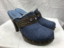 White MT Womans 8B Blue Denim Closed Toe Open Heel 4in Heel Shoes