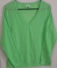 Woman's NWT Lime Green L/S  V-neck Top:Size L. by L.e.i.-Lightweight