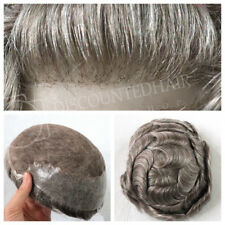 Mens Toupee Hair Replacement Hairpiece Lace Front Grey Mens Hair System Unit Wig