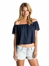 Roxy Women's Princess in the Sea Top Navy Blue LARGE Beach Off Shoulder