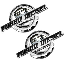 2 PC BLACK/CHROME 6.7 TURBO DIESEL MOTOR BADGE FOR TRUNK HOOD DOOR TAILGATE B