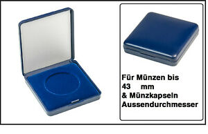 Lindner 2029-043 Blue Plastic coin case With velour insert For Coins To 11/16in
