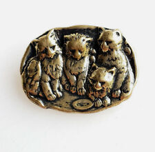 Kittens and bowl of milk brooch pressed brass Victorian Revival 1970s repro
