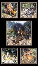 .6 Yard Cotton Fabric - Elizabeth's Studio Woodland Bear Deer Fox Families