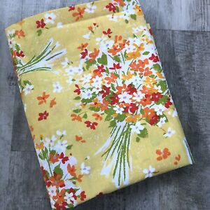 "Vintage Marlborough Full Flat Sheet Muslin Fabric Yellow Floral Bouquet 81x104"""