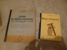 ancien manuel de technologie + cours de dessin industriel annee 50 BAC vintage