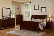Double Peneled Headboard Chery 4P Cal King Bedroom Set Dresser Mirror Nightstand