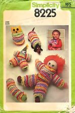Simplicity # 8225 Sewing Pattern: Toy Package; Doll Owl Dog Clown Caterpillar