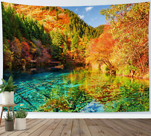 Autumn Forest Lake Tapestry Natural Scenery Wall Hanging For Living Room Bedroom